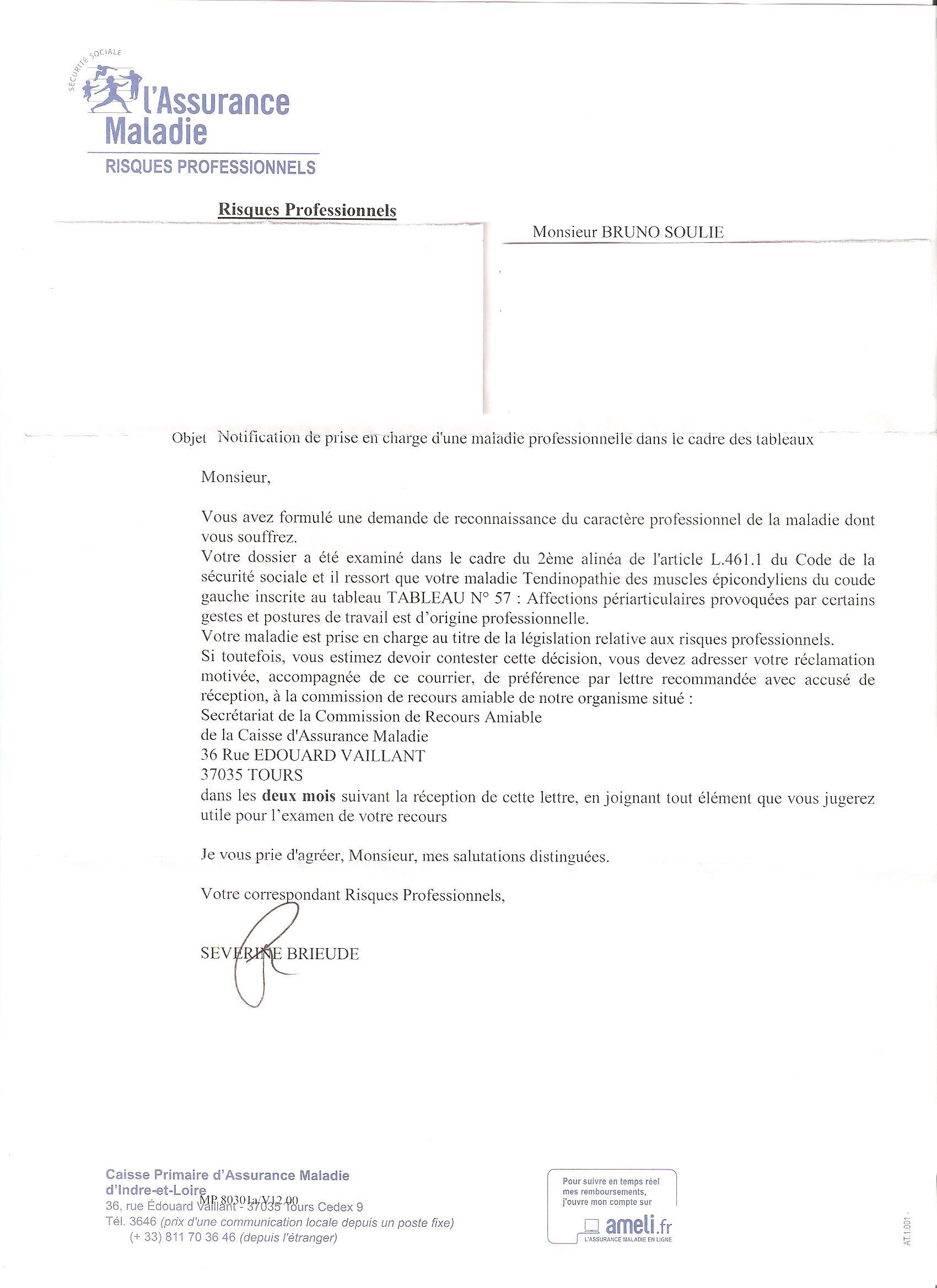 modele de lettre maladie professionnelle Modele Lettre Maladie Professionnelle Fonction Publique  modele de lettre maladie professionnelle