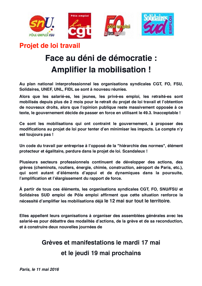 greve nationale jeudi 26 mai 2016