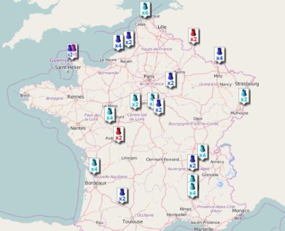 Carte des centrales nucléaires en France (source : ASN).