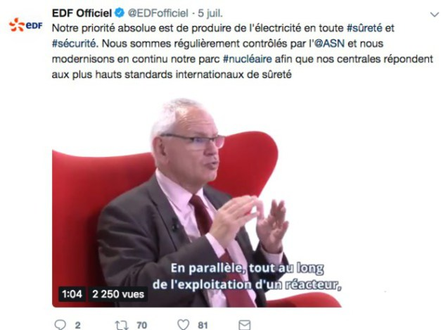 Tweet d'EDF montrant Dominique Minière, son directeur exécutif chargé du parc nucléaire.